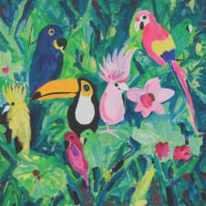 BirdPainted by Jimmy Edgar   50 x 50 cm (19.6 x 19.6 inches)  Sold