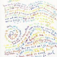 Birds - Original LyricsHandwritten lyric by Chris Martin The Actual lyric used on the AHFOD album art 29.7 x 42.0cm, (11.69 x 16.53 inches) Unique Sold