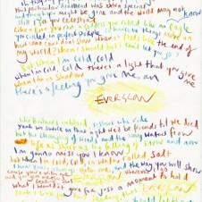 Everglow - Original Lyrics Handwritten lyric by Chris Martin The Actual lyric used on the AHFOD album art 29.7 x 42.0cm, (11.69 x 16.53 inches) Unique Sold